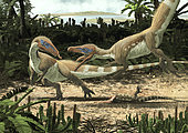 Two Sciurumimus albersdoerferi fighting for the carcass of a lizard on one of the islets of Europe during the Early Jurassic.