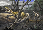 A large carnivore Neovenator salerii has fallen into a trap where he is approached by Eotyrannus lengi, the vultures. The environment has been recently hit by a tornado.