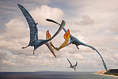 Two Geosternbergia pterosaurs fighting over small fish.