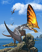 Tupandactylus perched on an outcrop during the Early Cretaceous Period of Brazil.