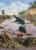 Raptors attack a vulnerable Mosasaurus that remained aground at low tide.