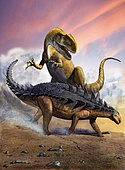 Confronation between a Neovenator allosaurid and a Polacanthus armored dinosaur during the Early Cretaceous Period.