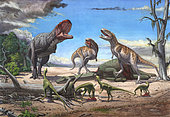 A large Rajasaurus bellows in an attempt to intimidate two Indosuchus dinosaurs away from a dead Titanosaurus. A pack of small Compsosuchus watch while they eat scraps of meat in the foreground.