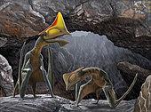 Tapejara wellnhoferi pterosaurs seek shelter inside a cave from a rain storm.