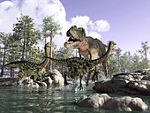 A Tyrannosaurus Rex hunting two Gallimimus dinosaurs in a prehistoric river.