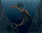 An Ophthalmosaurus catches a squid in the deep sea.