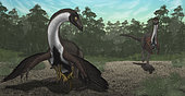 Ornithomimus mother dinosaur with juveniles, along with an adult male in a Cretaceous forest.