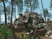A herbivorous dinocephalian therapsid grazes on a hilltop 255 million years ago in what is today in the European part of Russia near the Ural Mountains.