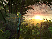 A giant Meganeura with a 30-inch wingspan, resembling and related to present-day dragonflies, is witness to a sunrise in a Carboniferous fern forest from over 300 million years ago.