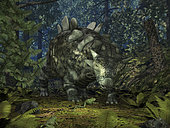 A ten-foot-long Crichtonsaurus crosses paths with a pair of frogs deep within a Cretaceous forest 95 million years ago. The heavily armored Crichtonsaurus was a herbivore and therefore unlikely to have any interest in frogs as food, while the carnivorous frogs are doubtless in search of smaller prey. The forest is populated with various ferns and the conifer-like Wollemi Pine (not a true conifer, rather an Araucariaceae more closely related to the Monkey Puzzle tree).