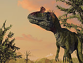 Over 20 feet long and weighing as much as a ton, Cryolophosaurus is the first dinosaur to have been unearthed by paleontologists in Antarctica. This formidable predator hunted 190 million years ago during the Early Jurassic period. . . While the Earth was warmer and Antarctica closer to the equator during Cryolophosaurus' time, the continent was still far enough south for the climate to be temperate rather than tropical. Much of Antarctica was likely covered by dense forests, at least near the coasts. Cryolophosaurus' remains were found on a mountain range that would have placed it at an altitude of about 10,000 feet and 1,000 miles from the South Pole during its reign.