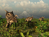 A herd of plant-eating Einiosaurus roam the plains in what is today the Two Medicine Formation in northwestern Montana. In the distance a long-dormant volcano signals its return to activity by cauterizing snowcover into great clouds of steam. Within weeks the volcano will bury this scene beneath a massive ash fall, preserving the remains of the flora and fauna for future exhumation and examination by Homo sapiens 75 million years later.