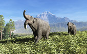 Deinotherium traverse the rolling plains of what is today Europe. A prehistoric relative of modern elephants, Deinotherium was larger and had a shorter trunk and downward-curving tusks attached to its lower jaw. Deinotherium is the third largest land mammal known to have existed; only Paraceratherium and some mammoths were larger. Deinotherium likely behaved like modern elephants and may have lived side-by-side with the early human ancestor Australopithecus.