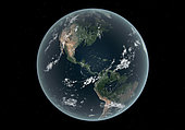 This is how the Earth's Western hemisphere may appear with average sea level about 100 meters (330 feet) above today's. Such a dramatic rise in sea level could occur if all of the Earth's glaciers were to melt. . In this image the Gulf of Mexico and Atlantic Ocean have inundated nearly all of southeastern United States including the entire state of Florida, nearly all of Louisiana, and significant portions of the other southeastern states and the District of Columbia. Major U.S. cities submerged include New York City, Boston, and Houston, and on the west coast Los Angeles, San Francisco, and much of San Diego. . In addition to land claimed from the United States this 100 meter rise in sea level has also claimed much of Central America including the Yucatan Peninsula and further south nearly all of the Amazon basin. . A likely cause of a catastrophic melting of the Earth ice stores would be a change in climate, a sudden rise in the global temperature accelerated by a runaway greenhouse effect. While the amount of water held by the Earth's glaciers can be calculated with some accuracy, the exact mechanism that would set those glaciers to melting, and how long it would take for them to melt, is poorly understood. Some models suggest that several millennia of higher temperatures would be required to melt all the world's glaciers, while others predict much faster processes on the scale of centuries, or even decades.