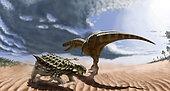 A Tarbosaurus dinosaur and an armored Saichania ankylosaurid in a prehistoric landscape.