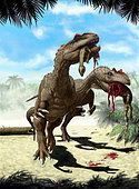 Two Allosaurus europaeus with a Hypsilophodon foxii in mouth as its next meal.