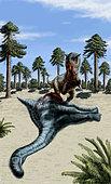 A Carnotaurus eating the flesh of a dead Chubutisaurus.