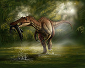 A Baryonyx dinosaur catches a fish out of water in the Cretaceous Period.
