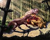 Predators Biarmosuchus tener eating the flesh of a Estemmenosuchus mirabilis.