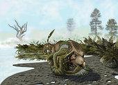 A Velociraptor mongoliensis attacks a Protoceratops andrewsi.