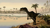 Yangchuanosaurus shangyouensis eats the carrion of a dead animal as Angustinaripterus longicephalus scavenge in the background.