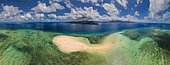 Aerial view of a colourful panorama over the white sand island of Sazilé, Mayotte