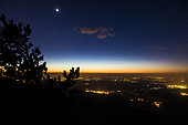 Sunset on the western ridge of the Ventoux, looking north to the Comtadine plain, Provence, France