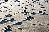 Mounds of sand formed by wind and shells on a beach in the Camargue, Réserve Naturelle de Camargue, France