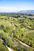 The Calavon river and the Petit Luberon, Luberon Regional Nature Park, France