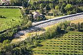 Riprap on the Calavon river in Cavaillon, Parc Naturel Régional du Luberon, France