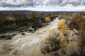 Autumn flood of the Calavon river, Pont Julien site, Bonnieux, Vaucluse, Luberon Regional Nature Park, France