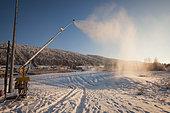 Snow cannon, Bois d'Amont, Jura, France