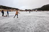 Skaters on the lake of Lamoura, Jura, France