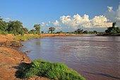 Ewaso River, river with spring clouds, Samburu National Reserve, Kenya, Africa
