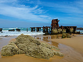 Wreck of a floating dock (in 1902) at Glentana near Mossel bay, Garden Route, Western Cape. South Africa