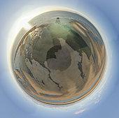 """Photo panoramique 360 """"Tiny planet"""". Phare de Walde et sa plage à marée basse, les Hemmes de Marck, Côte d'Opale, Pas de Calais, France"""
