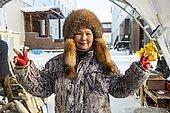 Yakutian saleswoman, Fish and meat market, Yakutsk, Sakha Republic, Russia, Europe