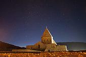 Starry night sky above Saint Thaddeus Monastery, Azarbaijan Province, Northwestern Iran.