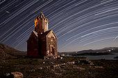 Star trails above Dzordza church, Azarbaijan Province, Northwestern Iran.