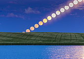 June 9, 2017 - The rising full moon of June, dubbed the Strawberry Moon, as seen rising over a prairie pond in southern Alberta, Canada. At right, the glitter path from the moon also combines on the water. . . This illustrates the effect of the moon brightening and becoming less red/yellow as it rises into clearer air above the horizon, with less atmospheric absorption of the short wavelengths.
