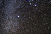 The companion constellations to Orion, of Lepus the hare (below Orion), Columba the dove (below Lepus), and Canis Major the large hunting dog (at left in the Milky Way)