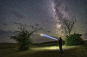 August 6, 2018 - An observer pointing at Mars from Grasslands National Park, Canada.