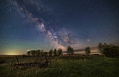 The late-night spring Milky Way from a rural backyard in Alberta, Canada, with the waxing moon just setting and lighting the landscape and sky. Jupiter (brightest) and Saturn to the east (left) are just rising together at left, east of the Milky Way. West of the galactic centre at right is red Antares in Scorpius. The Small Sagittarius and Scutum starclouds are prominent at centre, with their various Messier nebulas and star clusters visible.