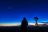 February 27, 2020 - An astronomer looking at the waxing crescent moon near Venus, standing beside the Celestron SkyMaster 15x70 Pro binoculars on the Sky-Watcher AZ5 mount.