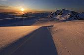 Midnight Sun over Lilletinden Mountain, Nordland, Norway.
