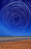 Star trails around the south celestial pole at the beach in Miramar, Argentina. Note the lack of a polar star as there is no bright star near the celestial pole for the southern hemisphere.