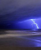 March 21, 2010 - A bolt of lightning from an approaching storm at the beach in Miramar, Argentina.