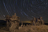Star trails and intricate sand tufa formations at Mono Lake, California. These lesser known sand tufa formations can be found within 1000 feet from the current shoreline of Mono Lake and near the popular south tufa area. Unlike the larger tufa pillars of south tufa, these sand tufa stand only 3-4 feet tall and are much more delicate.