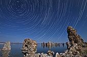 Moonlight illuminates the tufa formations found at Mono Lake, California.