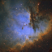 NGC 281, also known as the Pacman Nebula, is an H II region in the constellation of Cassiopeia and part of the Perseus Spiral Arm.